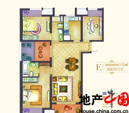 世茂国际广场户型图E户型 4室2厅2卫 面积:132.00m2