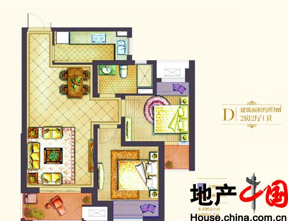 世茂国际广场户型图D户型 2室2厅1卫 面积:89.00m2