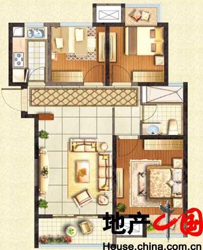 蓝光五彩城高层C户型3室2厅1卫1厨 85.00�O