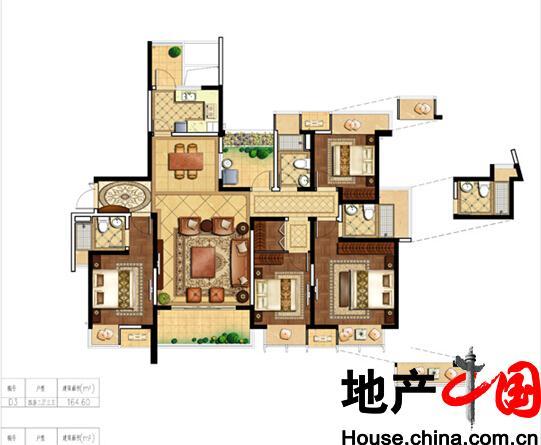 海岸城・郦园D3户型4室2厅3卫1厨 160.00�O
