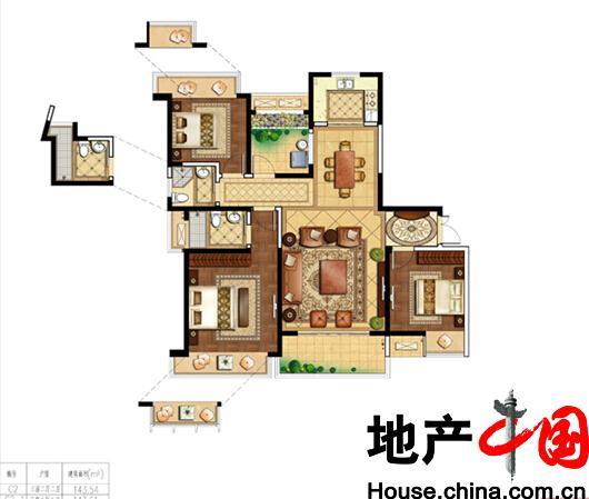 海岸城・郦园C2户型3室2厅2卫1厨 140.00�O