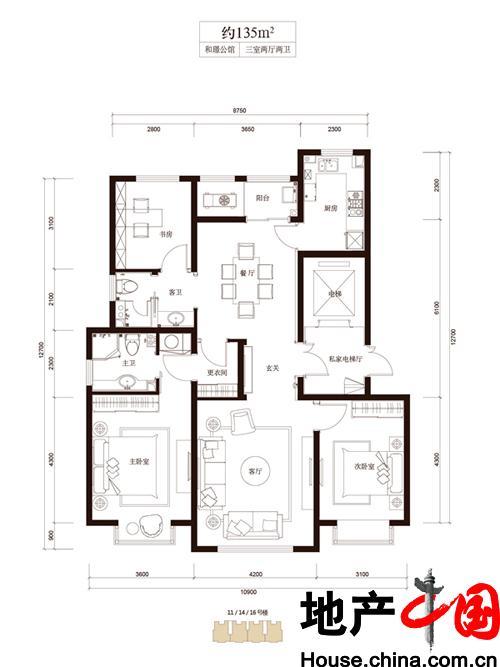 和成�Z园B1户型3室2厅2卫1厨 135.00�O
