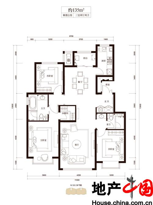 和成�Z园B2户型3室2厅2卫1厨 135.00�O