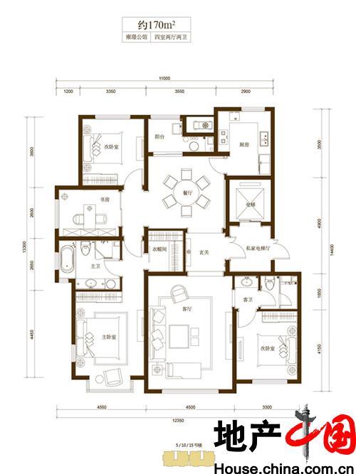 和成�Z园C户型4室2厅2卫1厨 170.00�O