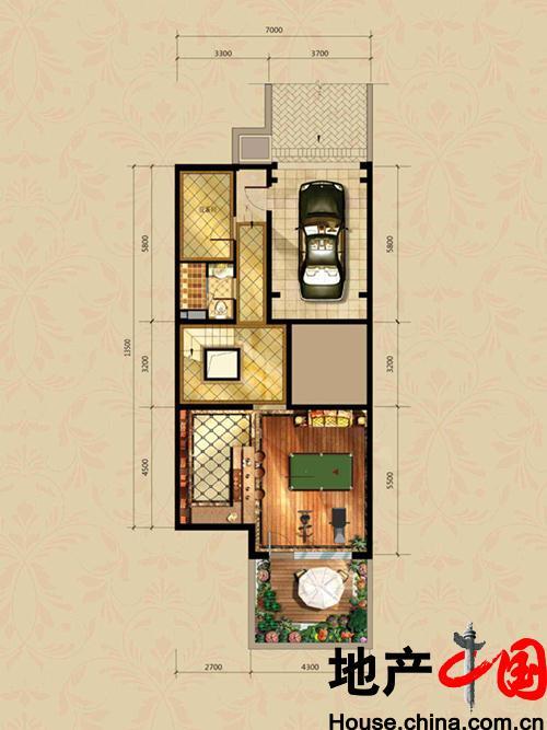 北京城建・徜徉墅南B地下一层户型图5室2厅5卫 328.00�O