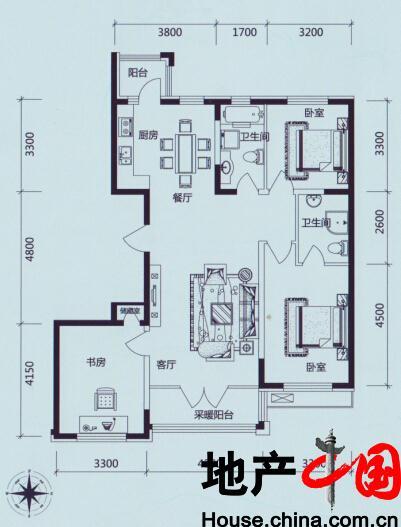 学伟鑫城:K高层户型 三室二厅二卫