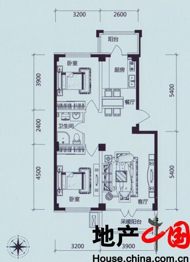 学伟鑫城:A户型 三室二厅一卫