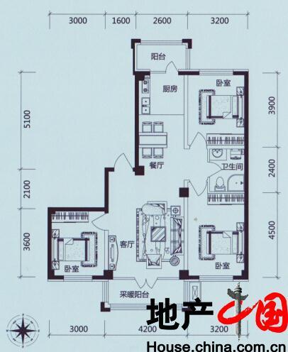 学伟鑫城:C户型 三室二厅一卫