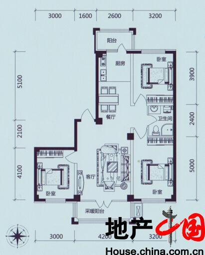 学伟鑫城:C1户型 三室二厅一卫