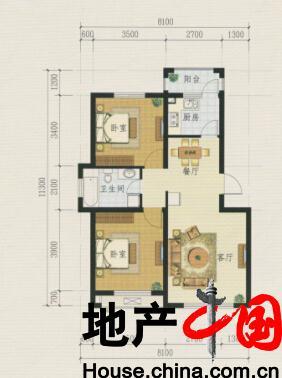 银河太阳城户型图:D1 二室二厅一卫