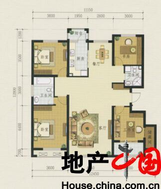 银河太阳城户型图:D5 四室二厅二卫