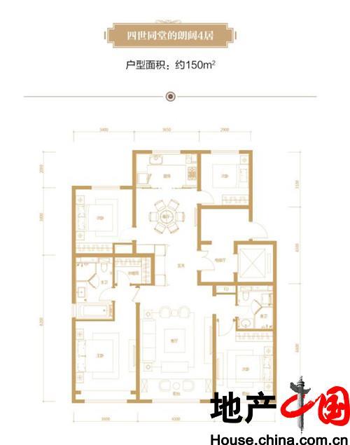 150平米 4居户型图