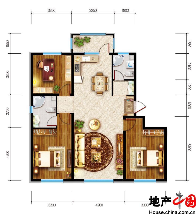 联想中心城・满庭芳三居室户型