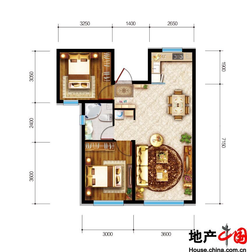 联想中心城・满庭芳二居室户型