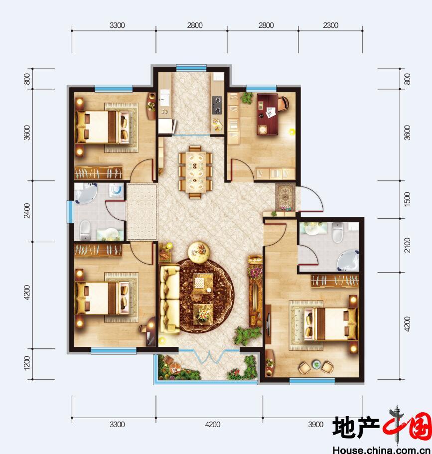 联想中心城・瀚棠四室户型