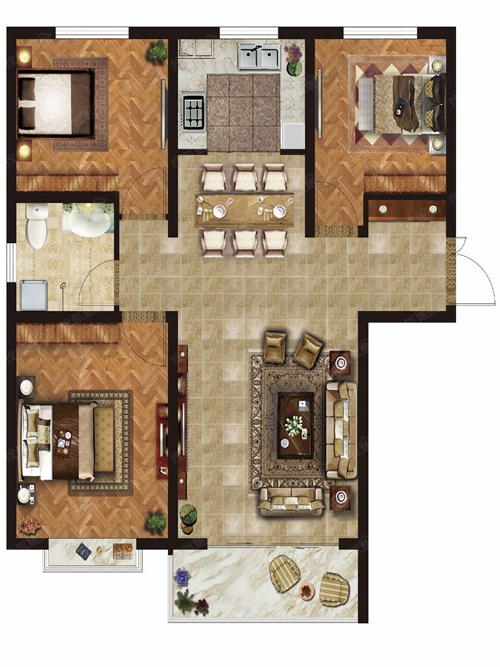 E1户型 3室2厅1卫