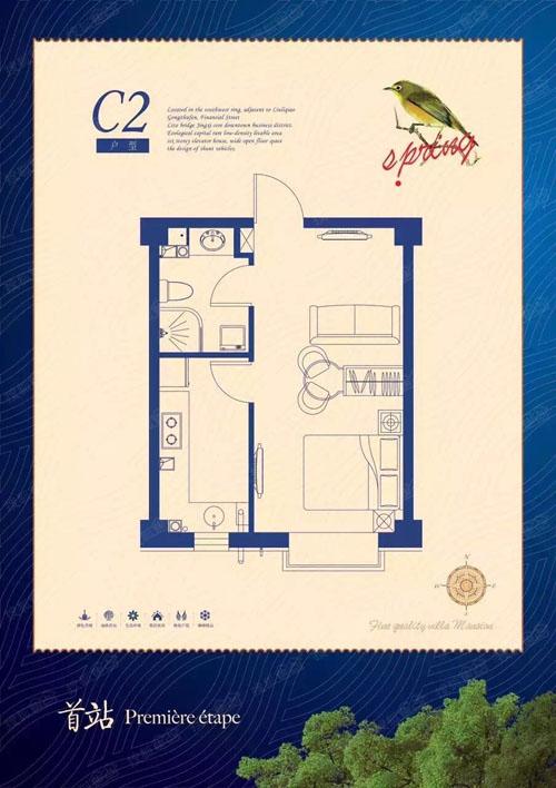 C2户型 1室1厅1卫