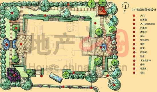 c户型庭园景观设计