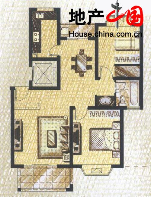 2室2厅1卫房型图97.5平方米