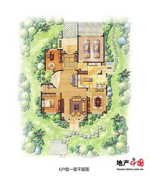 海德花园 e户型一层平面图