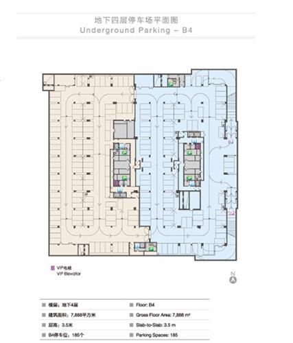 地下四层停车场平面图