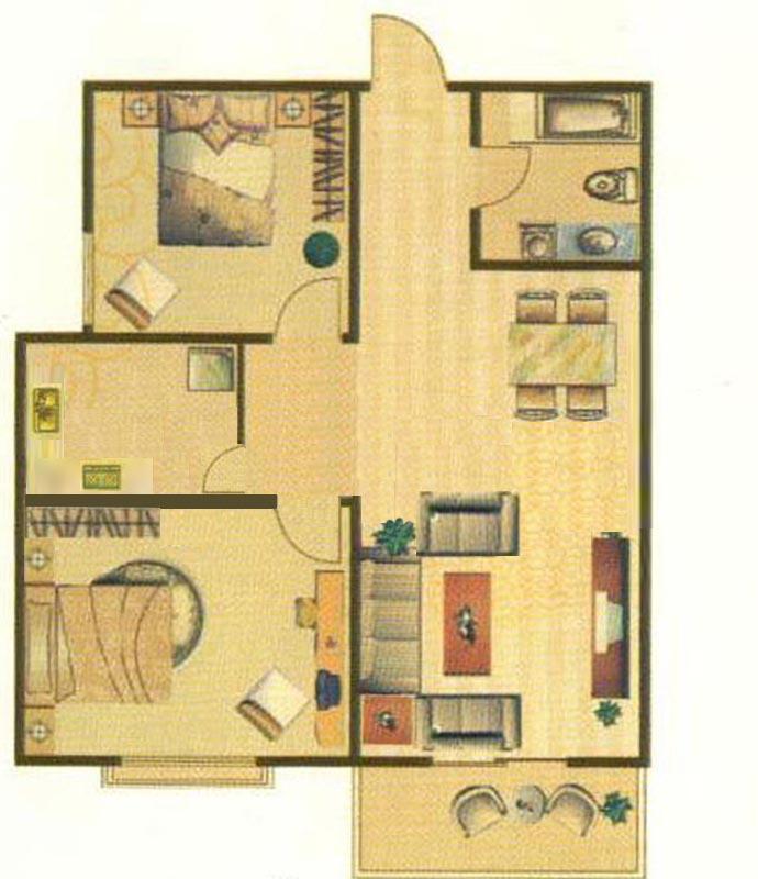 泰和怡苑户型图22室2厅1卫1厨91.00㎡