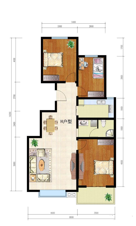 龙泉花园三室两厅一卫114h户型图