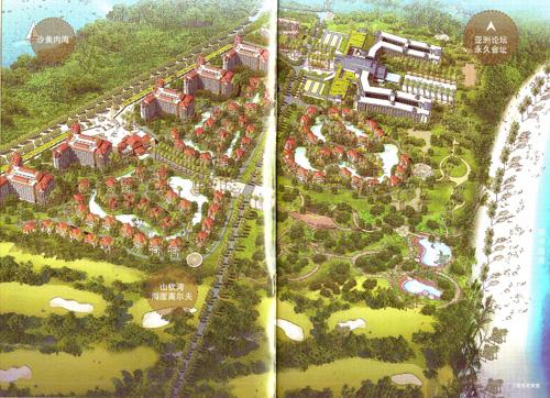 海滨建筑鸟瞰图手绘