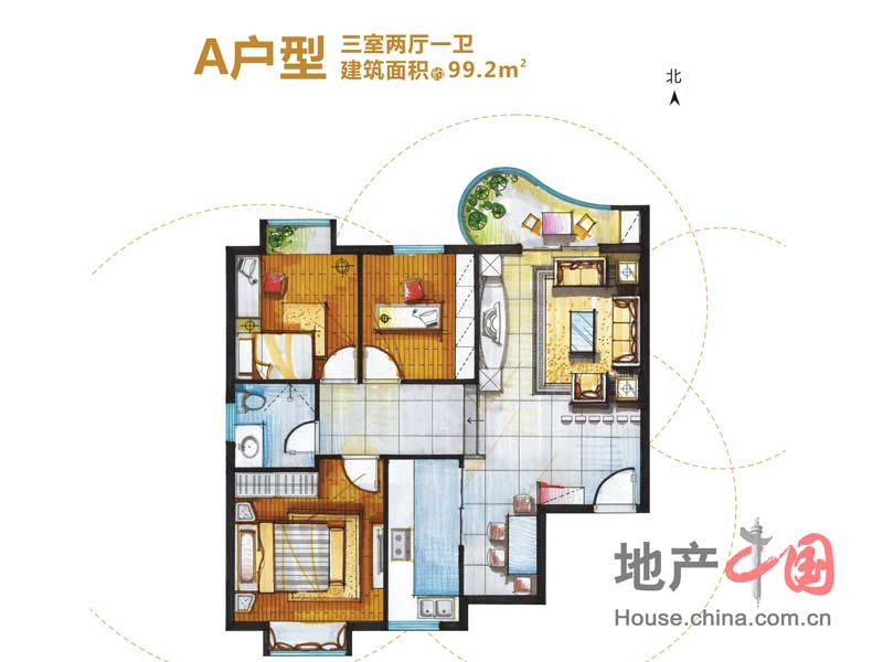 东城100a户型三室两厅一卫99.2平米