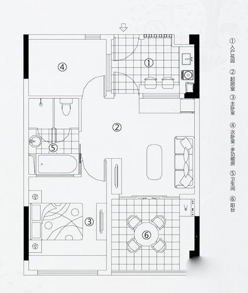万科森林度假公园度假公寓两室户型2室1厅1卫1厨70.00㎡