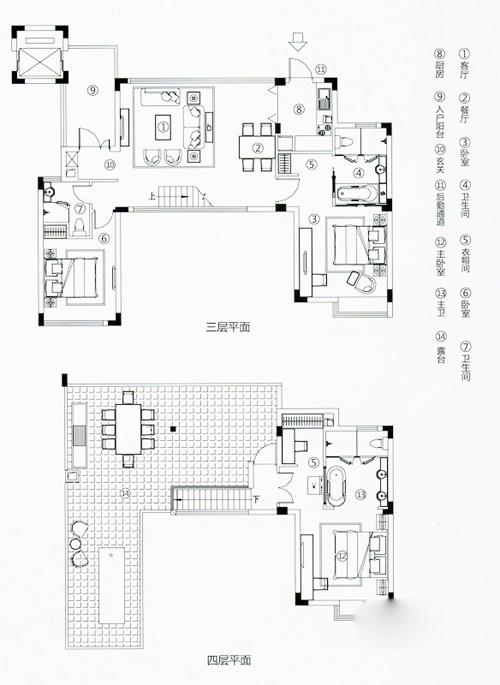 万科森林度假公园观湖别墅c户型3室2厅3卫1厨147.00㎡图片