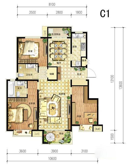 中国铁建·北京山语城c1户型图3室2厅2卫1厨 125.00㎡
