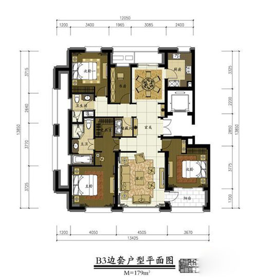 绿城北京诚园b3户型3室2厅2卫1厨 179.00㎡