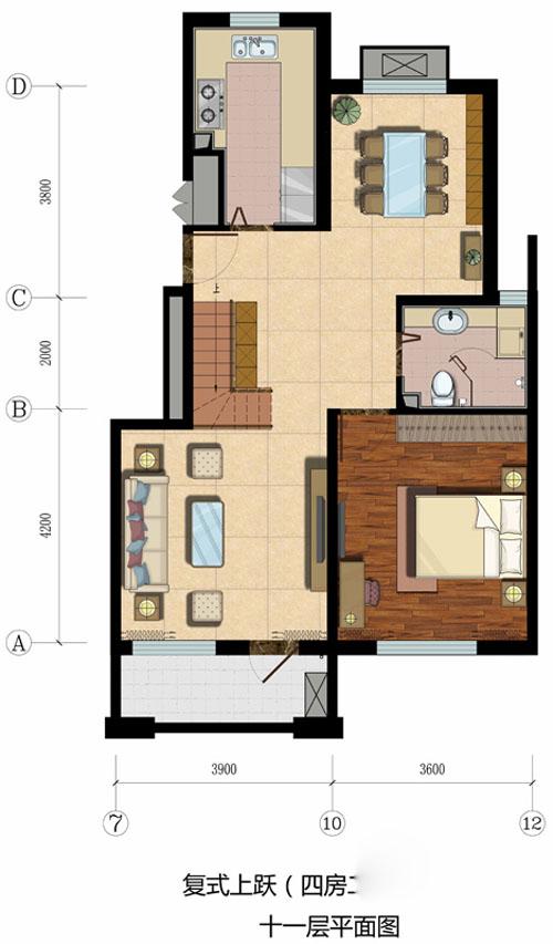 恒盛·埃菲尔映像复式11层户型图4室2厅2卫1厨 135.00㎡