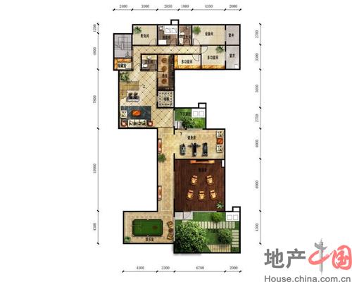 富力湾·半岛别墅b1地下一层户型图3室2厅2卫1厨