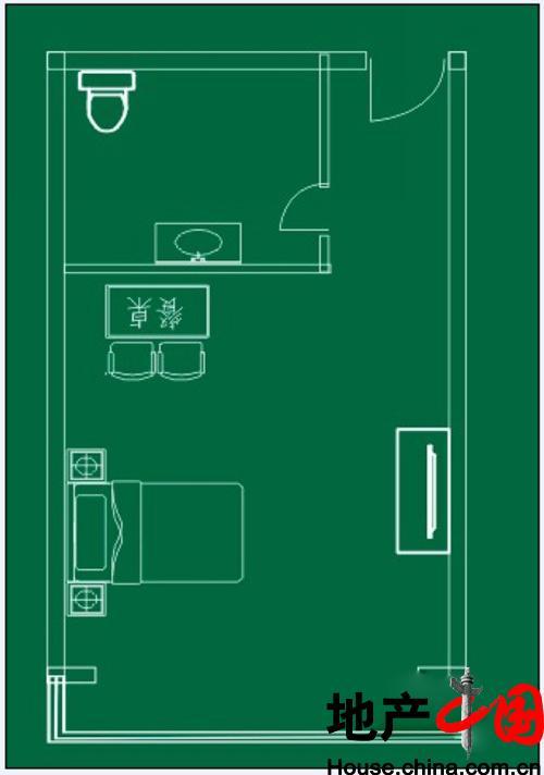 白领公寓一居户型图1室1卫1厨 30.96㎡