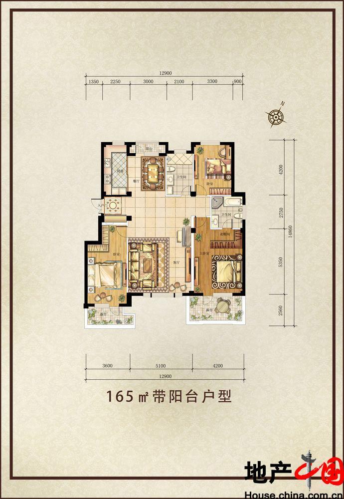 金石城c5户型165平方三室二厅二卫户型图