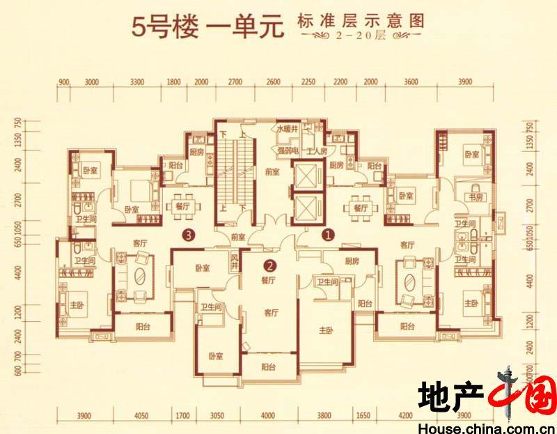 恒大绿洲户型图:5号楼1单元