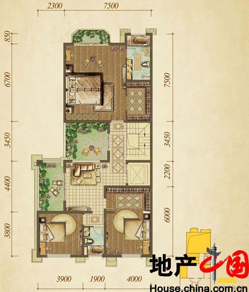 香港置地约克郡户型图d-4-01别墅别墅池边二层昆明图片