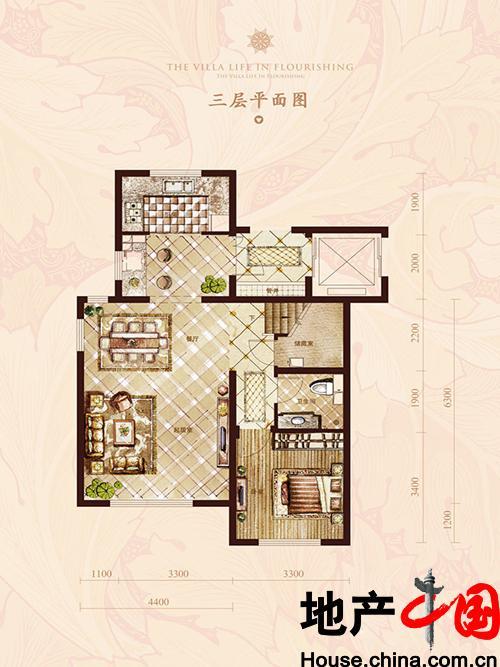 世茂维拉上叠三层平面户型4室1厅4卫1厨 153.00㎡