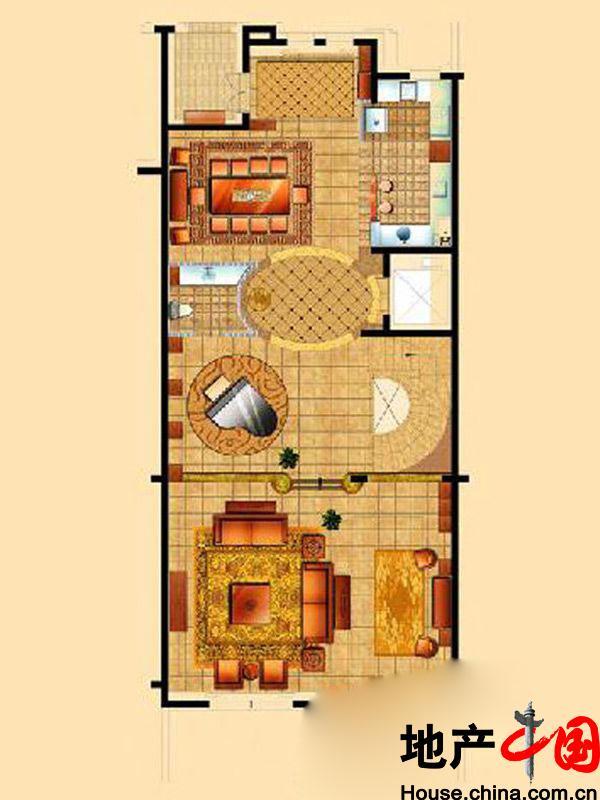 星海湾壹号t1别墅一层户型图4室4厅5卫1厨 410.00㎡