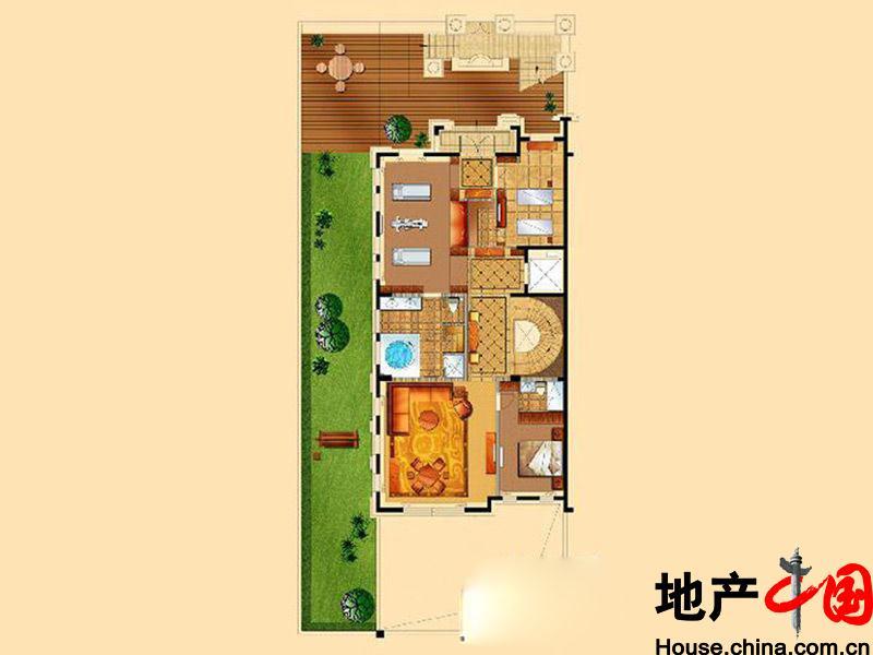 星海湾壹号t3别墅阳光娱乐层户型图3室5厅4卫1厨 430.00�O