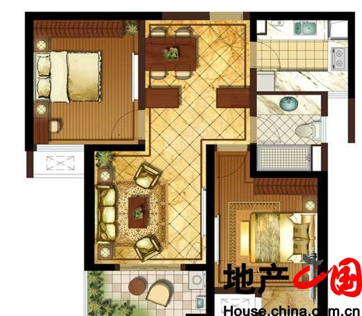 九龙仓时代上城擎天半岛超高层户型2室2厅1卫 88.00㎡