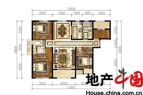 中海外北岛三居户型图