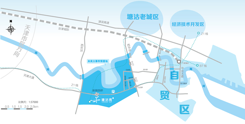 项目与塘沽老城区隔河相望,东邻天津自贸区滨海新区中心商务片区,北依