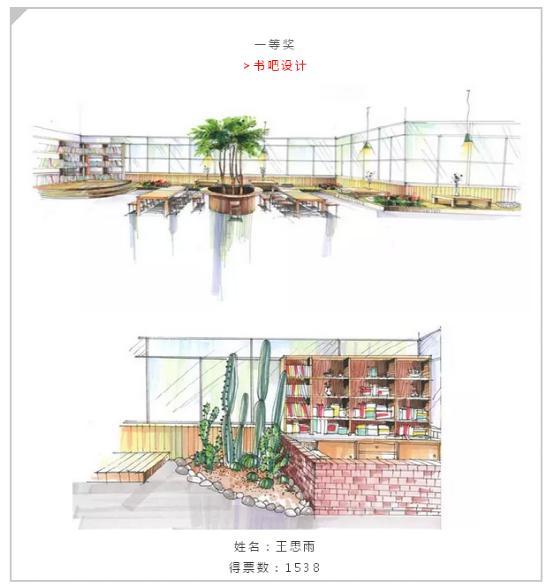 书店设计手绘效果图分享展示