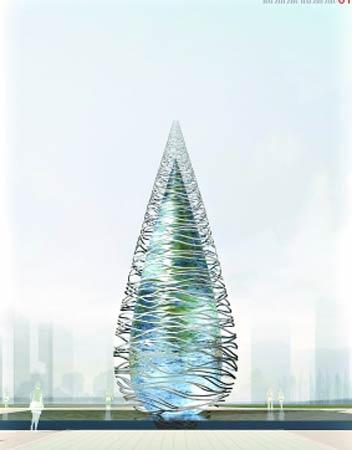 十字门标志性构筑物效果图 珠海十字门cbd城市设计概念方