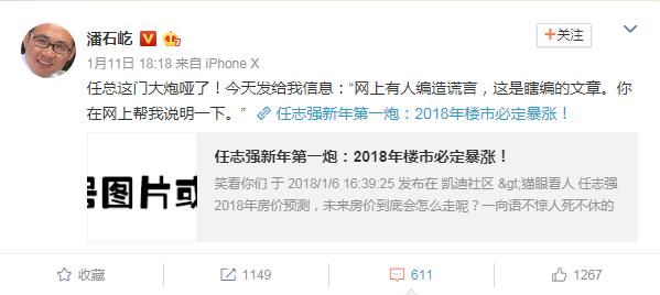 """潘石屹:任志强否认""""2018年楼市必定暴涨""""一文-中国网地产"""