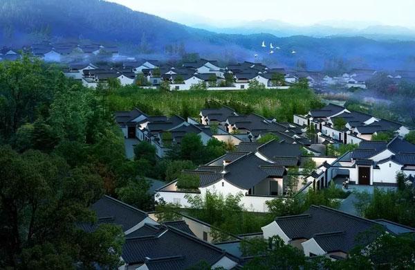 """在安吉桃花源中心,三山两谷间,56栋现代山地别墅从自然中长出,""""悬浮"""""""