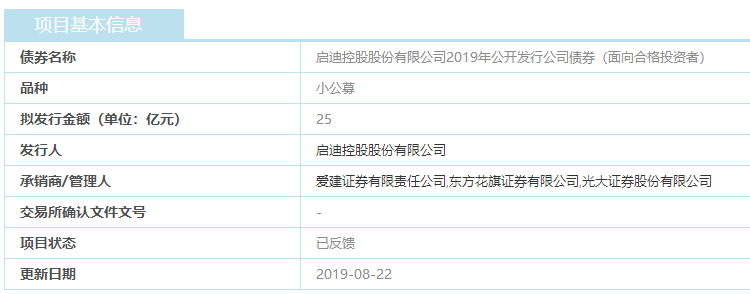 启迪控股:25亿元小公募公司债券已获上交所反馈-中国网地产